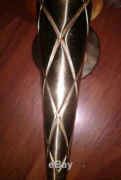 Vintage Cinema Torch Wall Porch Light Sconce Flame Glass Brass Metal Art Deco
