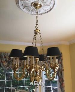 Vintage Colonial Brass Bouillotte Chandelier & Matching Wall Sconce Lamp Pair