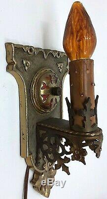 Vintage Deco Era Gothic Cast Brass Wall Sconce Light Fixture Chandelier 1920