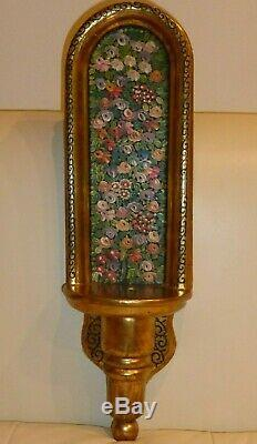 Vintage Fine Gold Polychrome and Hand Painted Wall Shelf Sconce Altar Shrine