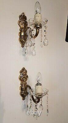Vintage French Brass Wall Lights with Glass Bowls & Strings of Crystals Pair