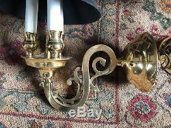 Vintage French Colonial Black Tole Shade Brass Wall Sconce Bouillotte Lamp Pair