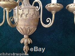 Vintage French Giltwood Tole Urn Flower Basket Pair Wall Sconces Italy Italian