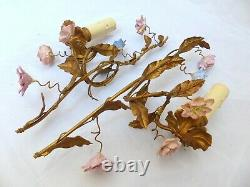 Vintage French PAIR Wall Light Gilded Metal Sconces Porcelain Flowers 1950