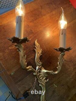 Vintage French Pair Double wall Lights candle sconce Rococo Louis Elaborate Gold