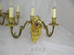 Vintage French Pair Gilt Bronze 3 Arm Wall Sconces