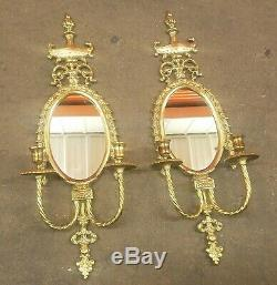 Vintage French Style Ornate Brass Mirror Wall Sconce Hollywood Regency Gold MCM