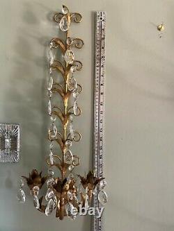 Vintage Gilt HOLLYWOOD REGENCY ITALIAN Wall Sconce Candle Holder PAIR 22 Tall