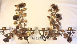 Vintage Gilt PAIR 2 Metal Tole 2-Arm Wall Candelabra candle sconces Roses Leaves