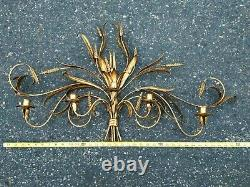 Vintage Gilt Tole Hollywood Regency 5 light candle Wall Sconce 36 X 21 Nice