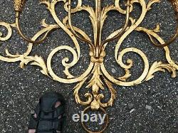 Vintage Gilt Tole Italian Large Wall Candle Sconce 42X26x7 Hollywood Regency