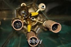 Vintage Gold Bronze Brass Wall Mounted Chandelier Light Fixture Gilded Metal