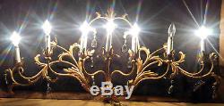Vintage Gold Gilt 7 Light Italian Tole Floral Wall Candelabra Sconce, 15 Prisms