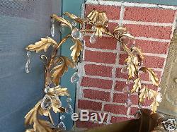 Vintage Gold Gilt Italian Hollywood Regency Crystal Basket Wall Sconce Grand