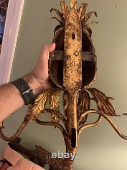 Vintage Gold Gilt Metal Pineapple Wall Sconce Italian 4 Light Candle Tole Gilded