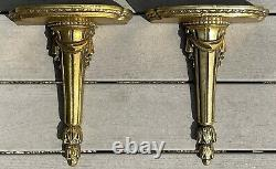 Vintage Gold Painted Wood Wall Shelf Sconce Hollywood Regency Pair Baroque