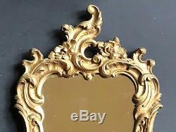 Vintage Gold SYROCO SHELF Antique MIRROR Framed Wall SCONCE HOLLYWOOD Regency