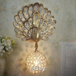 Vintage Golden Resin Peacock Wall Light Fixture DIY Crystal Ball E27 Wall Sconce