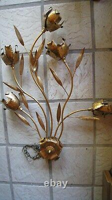 Vintage HUGE Italian Hollywood Regency Gold Leaf Tole Metal Wall Sconce REDUCED