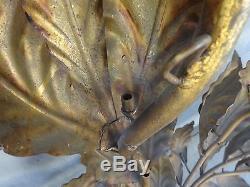 Vintage Hollywood Regency Italian Tole Metal Sconce Light Wall Sculpture Gold