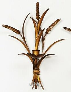 Vintage Hollywood Regency MCM Gilt Tole WHEAT Sheaves Candle Wall Sconces ITALY