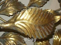 Vintage Hollywood Regency Made In Italy Heavy Metal Leaf Wall Sconce Light