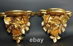 Vintage ITALIAN Gold Gilt Carved Wood Rose Shelf Sconce Wall Shelfs SET of 2