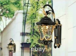 Vintage Industrial Loft Outdoor Sconce Black& Gold Finish E27 Light Wall Lamp