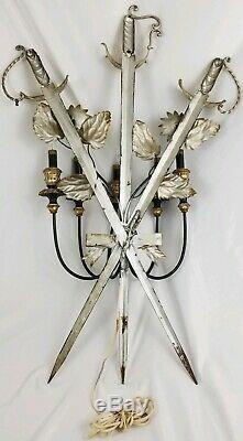 Vintage Italian Florentine Sword Gilt Tole Metal Wall Sconce 6 Arm Candelabra