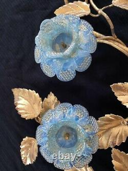 Vintage Italian Gilt Tole Candelabra Wall Sconce with Blue Glass Flowers