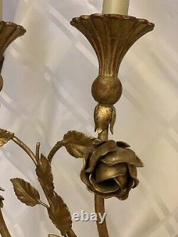 Vintage Italian Gold Gilt Tole French Fleur De Lis Wall Sconce Candelabra Lamp