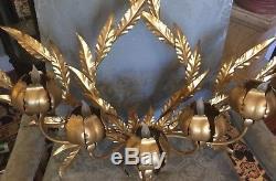 Vintage Italian Gold Leaf 5 Light Wall Sconce Leaves & Lighted Flowers Metal