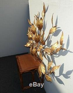 Vintage Italian Hollywood Regency Wall Sconce Light Lamp Gold Leaf Tole Metal