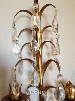 Vintage Italian Pair Hollywood Regency Gilt and Crystal Wall Sconce Wonderfull