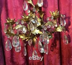 Vintage Italian Style Gold Gilt Leaf Candle Wall Sconce With Prisms
