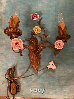 Vintage, Italian Tole & Porcelain Rose, Single Elegant Wall Sconce Light