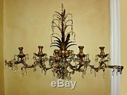 Vintage Italian Tole Wall Candelabra Sconce 49 Wide Gold Gilt 115 Crystals