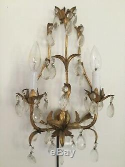 Vintage Italian Tole Wall Sconce Prisms Gold Gilt Crystals