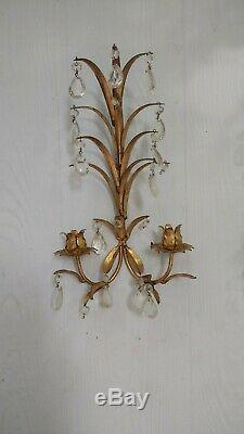 Vintage Italian Tole Wall Sconces Candle Holders Gilt Crystal Drops A Pair 1959