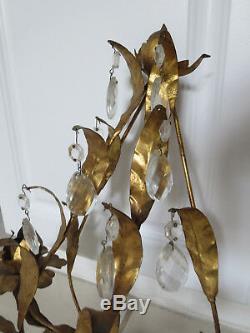 Vintage Italy Gold Gilt Tole Metal Rose & Leaf Wall Sconce Candle Holder