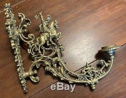 Vintage Knight on Horse Cast Iron Wall Sconce Light Large Architectural Salvage