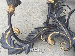Vintage Large Black & Gold Italian Tole Wall Sconce Light Fixture
