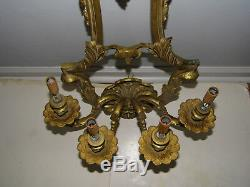 Vintage Large Heavy Ornate Brass Electric Light Fixture Wall Sconce 4 Arm #2