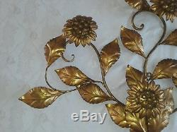 Vintage Large Hollywood Regency Mid Century Gold Tole Wall Sconce Light Lamp Art