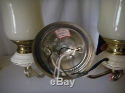 Vintage Large Pair Porcelain Wall Lights, Sconces With Glass Shades & Gold Trim
