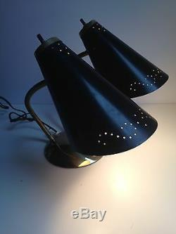 Vintage MID CENTURY MODERN Double Cone Gooseneck Wall Sconce Light Black Gold