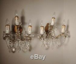 Vintage Matched Pair Italian Iron and Crystal Wall Sconces circa 1930s