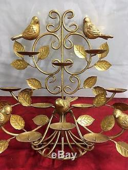 Vintage Metal Wall Sconce Candle Holder Gold 10 Pillar Tree Birds Leaves Rare