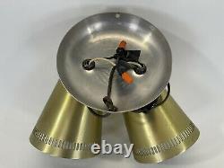 Vintage Mid-Century Modern Double Swivel Cone Wall Light Lamp Sconce Gold Teak