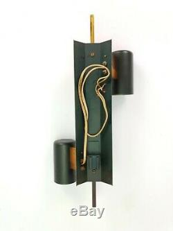 Vintage Midcentury Design Wall Sconce Green Gold